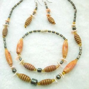 3pc wood/abalone shell necklace, ears & bracelet